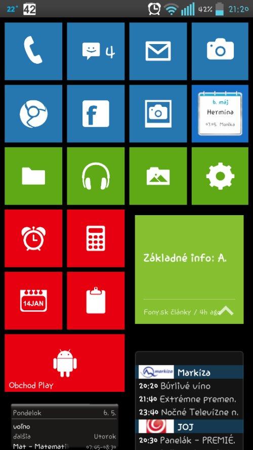 Windows phone prostredie v Android smartfóne