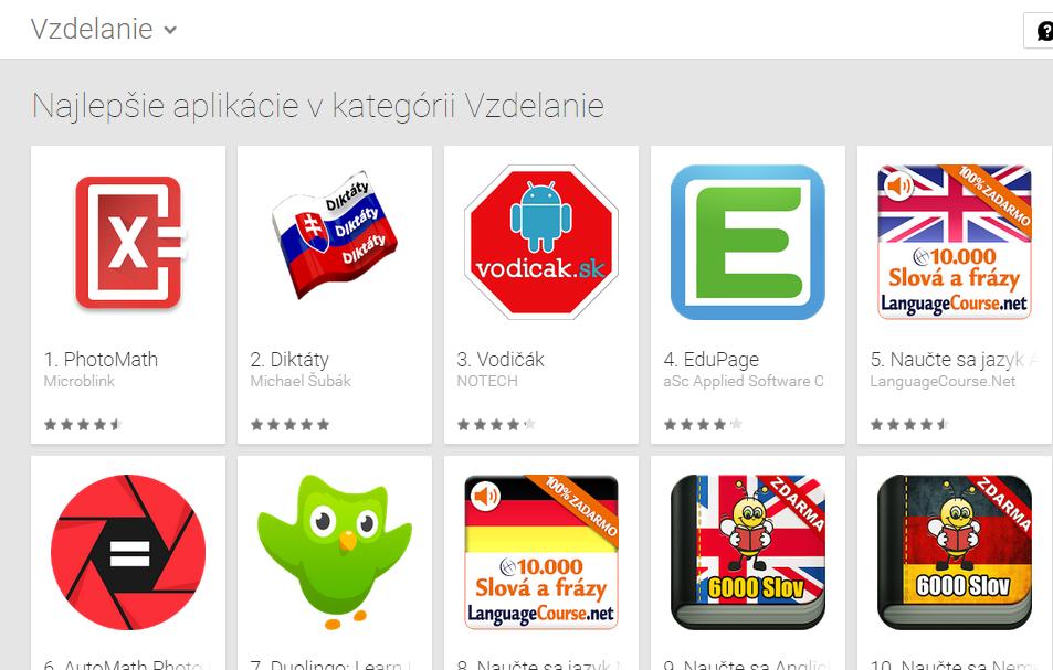 Aplikácia 7.3.2015 získala druhé miesto v najlepšia aplikácie zdarma v kategórii vzdelanie.