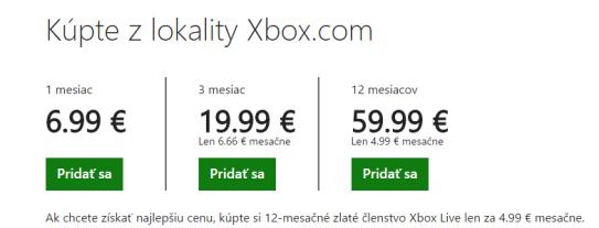 Cena Xbox Live Gold