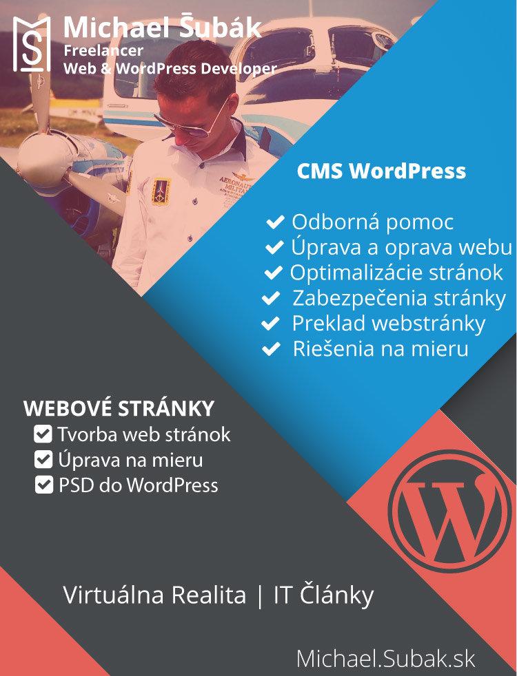 WordPress developer, Web developer, Práca s WordPress, programovanie, tvorba web stránok, preklady, úpravy