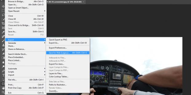 Adobe Photoshop uložiť pre web